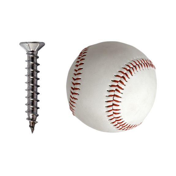 An image of a screw and a baseball to accompany an album review of Y2K