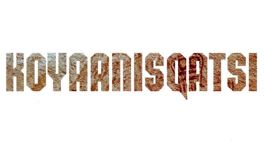 An image of the title font to Koyaanisqatsi with the Horseshoe Canyon pictrograph behind the word. Used to accompany the review of Koyaanisqatsi by whatwentrightwith.com