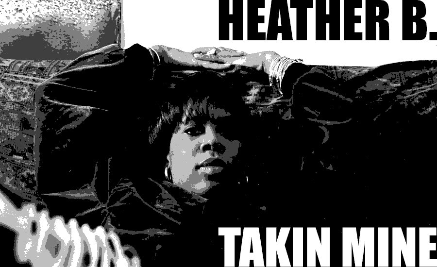 A black and white image of Heather B from her debut album Takin Mine