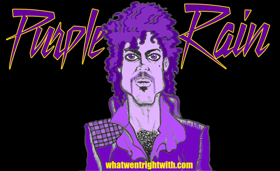 A caricature of Prince wearing his Purple Rain costume by whatwentrightwith.com