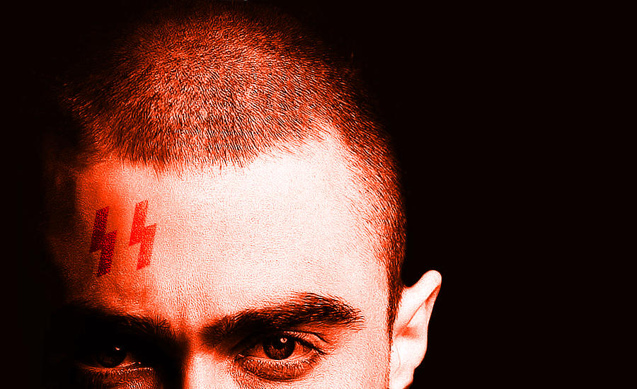 An image of Daniel Radcliffe with a parody Harry Potter SS scar on his forehead. A review of the film Imperium by whatwentrightwith.com