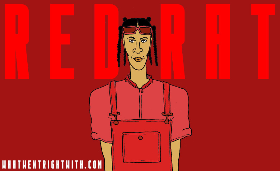 A caricature of reggae dancehall artist Red Rat by What Went Wrong Or Right With...?