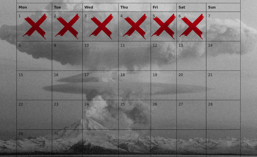 An image of a calendar marking six days with a mushroom cloud behind it by What Went Wrong Or Right With...?