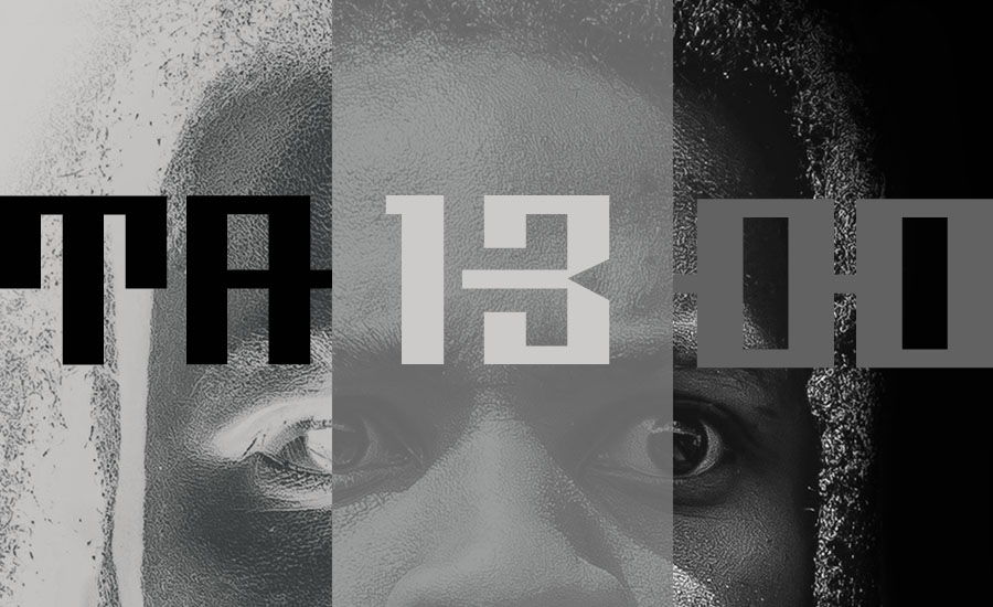 A review of TA13OO by Denzel Curry. An image of Denzel Curry behind the title TABOO separated into three columns; light, gray, and dark