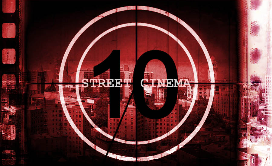 A review of Street Cinema by Sporty Thievz illustrated by a countdown film reel over an image of Yonkers