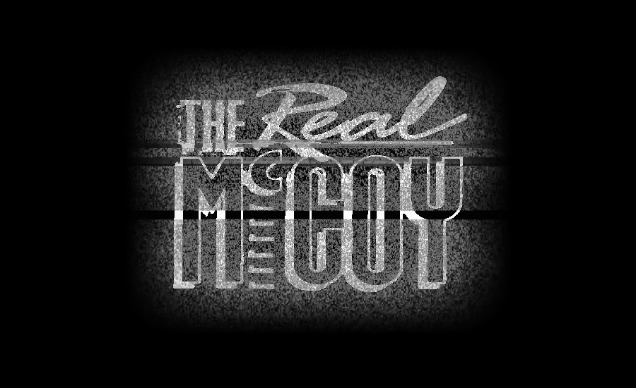 The Real McCoy logo titles on a CRT television in a dark room