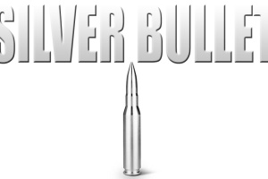 An image of a silver bullet with the name of rapper Silver Bullet above