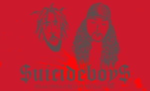 A caricature of $crim and Ruby Da Cherry aka $uicideboy$