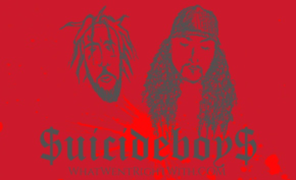 A caricature of $crim and Ruby Da Cherry aka $uicideboy$