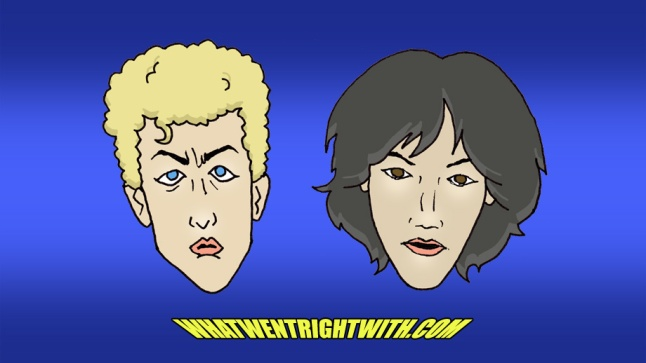 Caricatures of Bill And Ted in Excellent Adventure