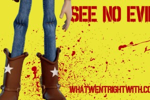 An image of Woody from Toy Story and his cowboy boots with blood spatter